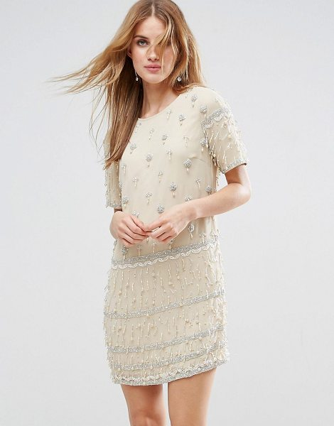 """Asos Embellished Tassle Fringe Shift Dress in cream - """"""""Dress by ASOS Collection, Lined woven fabric, Crew..."""