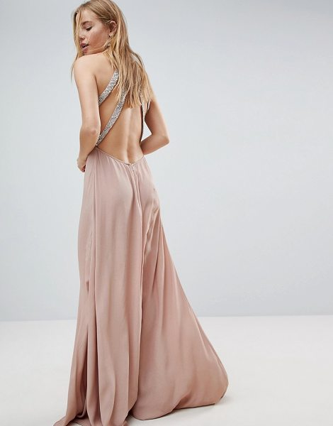 ASOS DESIGN embellished trim backless maxi dress in nude - Dress by ASOS Collection, High neck, Sleeveless style,...