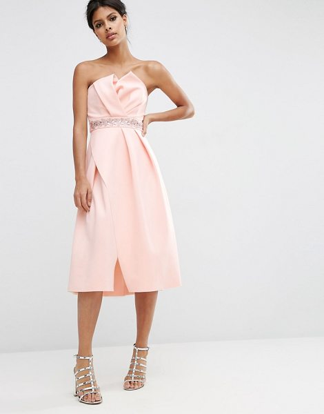 Asos Embellished Trim Folded Bandeau Prom Dress in pink - Dress by ASOS Collection, Soft-touch scuba style fabric,...
