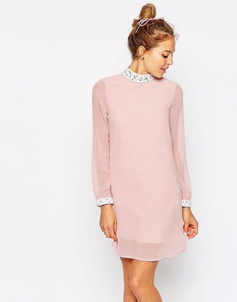 Asos Embellished Trim Mini Shift Dress in pink - Dress by ASOS Collection, Lined woven fabric,...