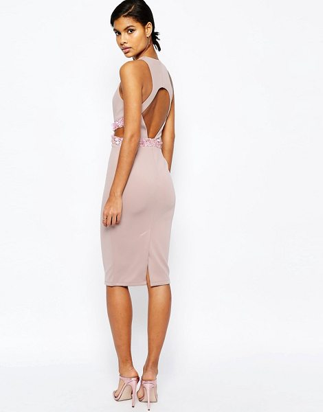 """Asos Embellished Waist Open Back Scuba Midi Bodycon Dress in beige - """"""""Midi dress by ASOS Collection, Stretch scuba fabric,..."""