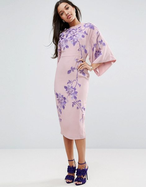 """Asos Embroidered Kimono Midi Dress in beige - """"""""Midi dress by ASOS Collection, Lined woven fabric,..."""