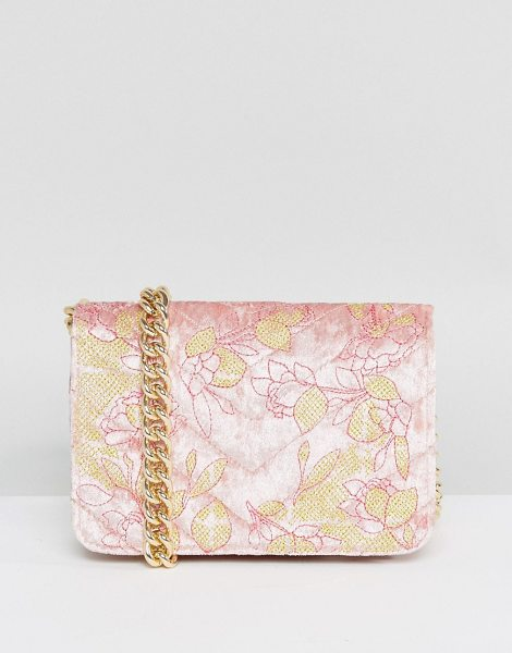 "Asos Embroidered Quilted Velvet Cross Body Bag in pink - """"Bag by ASOS Collection, Velvet outer, Embroidered..."