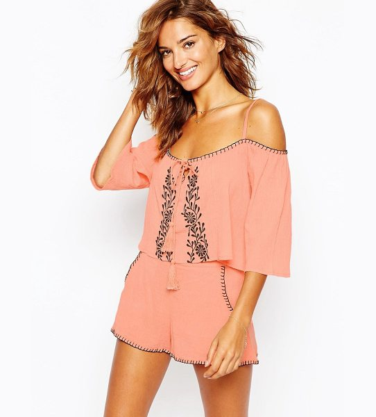 ASOS Embroidered Smock Beach Top Co-ord - Beach top by ASOS Collection, Lightweight crepe, Cold...
