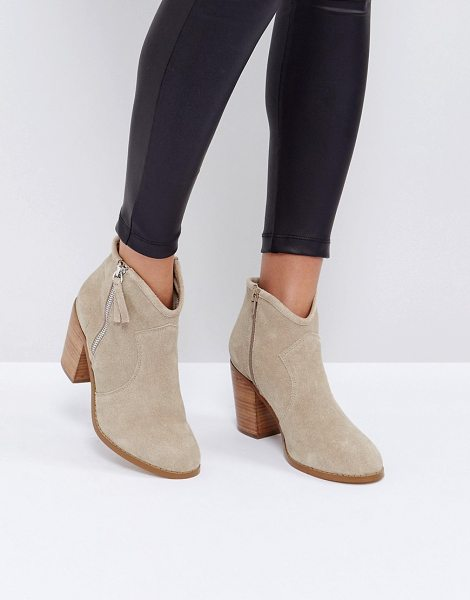"""ASOS EMMIE Suede Ankle Boots in beige - """"""""Boots by ASOS Collection, Suede upper, Side zip..."""