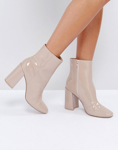 """ASOS DESIGN ASOS ENGAGE Patent Ankle Boots in nude - """"""""Boots by ASOS Collection, Glossy upper, Side-zip..."""