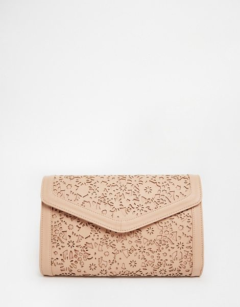 Asos Envelope clutch bag with cut out in nude - Clutch bag by ASOS Collection Smooth leather-look outer...