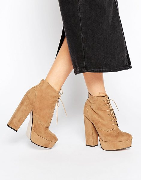 "Asos EPIC Lace Up Platform Boots in beige - """"Boots by ASOS Collection, Suede-look upper, Lace-up..."