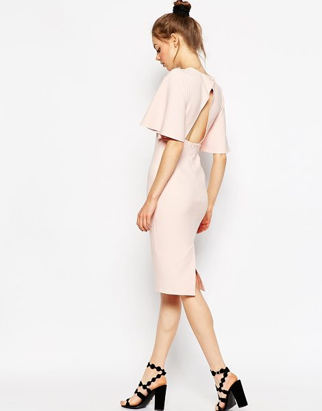 Asos Exaggerated Angel Sleeve Pencil Dress with Open Back in pink - Pencil dress by ASOS Collection, Woven fabric, High...
