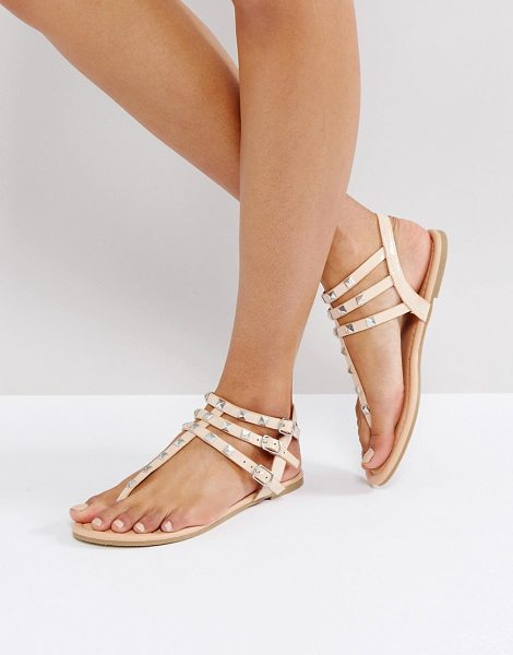 Asos FABIENNE Studded Flat Sandals in beige - Sandals by ASOS Collection, Faux leather upper,...