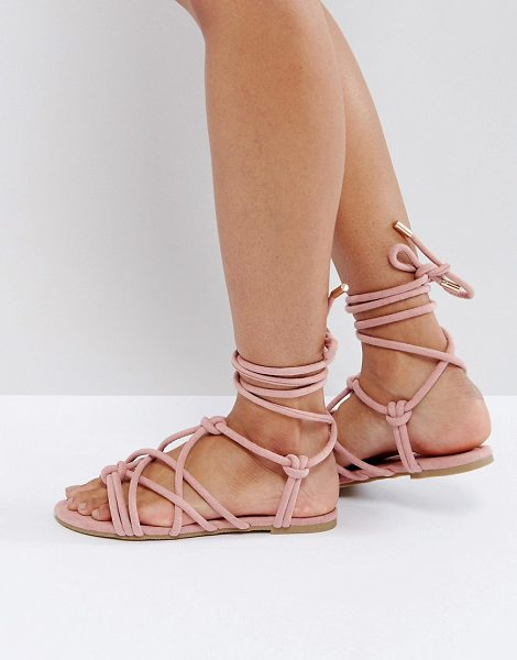 ASOS DESIGN ASOS FACTOR Tie Leg Flat Sandals in pink - Sandals by ASOS Collection, Textile upper, Tie...