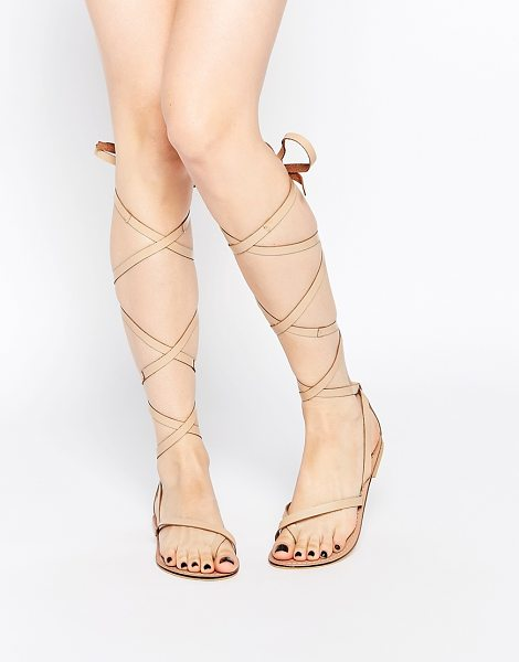 Asos FAIRY Tie Leg Leather Sandals in beige - Sandals by ASOS Collection, Smooth leather upper,...