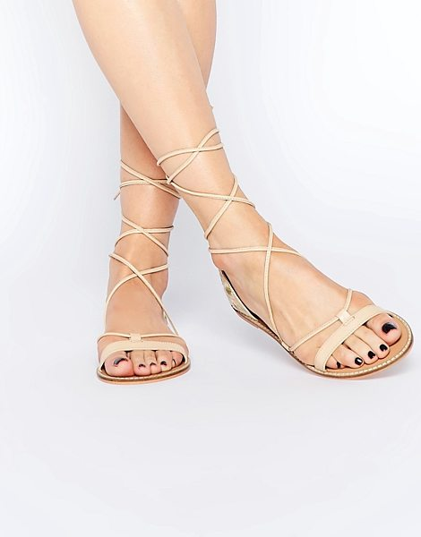 Asos FATE Leather Embroidered Tie Leg Sandals in beige