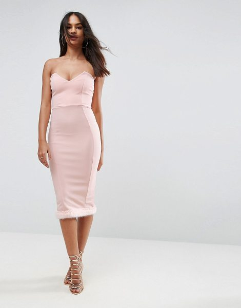 """Asos Faux Fur Hem Bandeau Midi Dress in pink - """"""""Midi dress by ASOS Collection, Soft knitted fabric,..."""