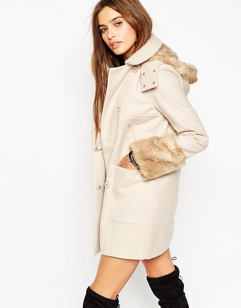 ASOS Faux Fur Trimmed Duffle Coat - Coat by ASOS Collection, Mid-weight, wool-feel outer,...