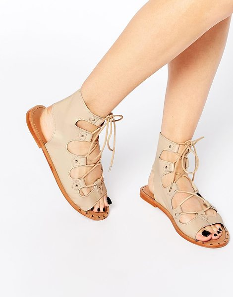 Asos FAYE Lace Up Leather Sandals in beige - Sandals by ASOS Collection, Smooth, leather upper, Open...