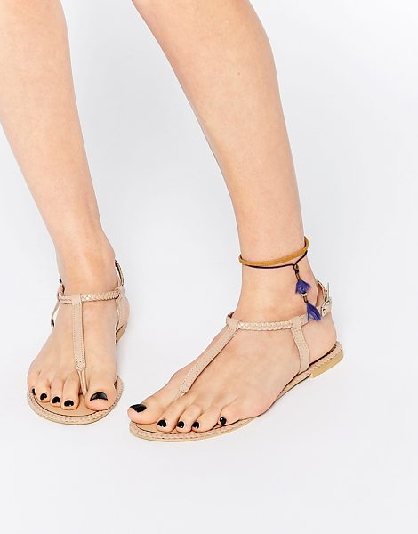 Asos FEATHER Leather Braid Sandals in beige - Sandals by ASOS Collection, Smooth leather upper, Pin...