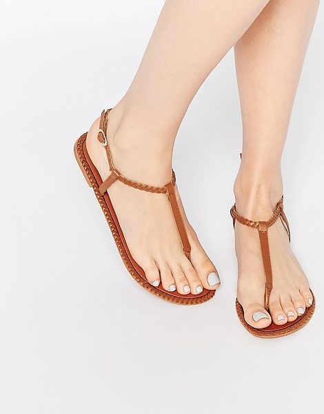 ASOS FEATHER Leather Braid Sandals - Sandals by ASOS Collection, Leather upper, Toe post...