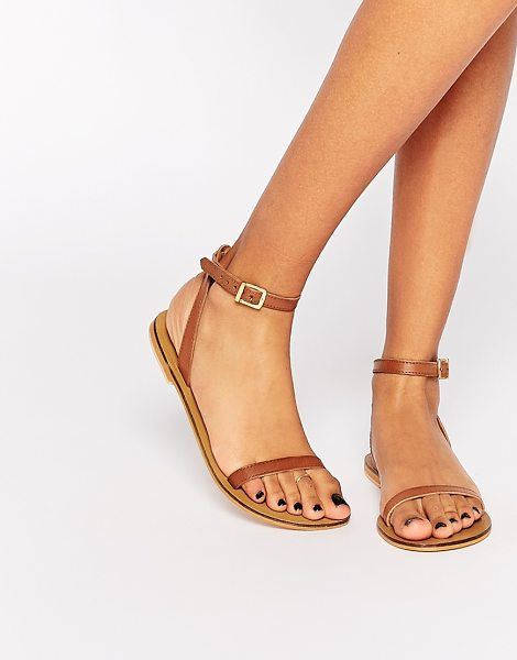 Asos FINLAY Leather Flat Sandals in tan - Sandals by ASOS Collection, Real leather, Open toe, Pin...