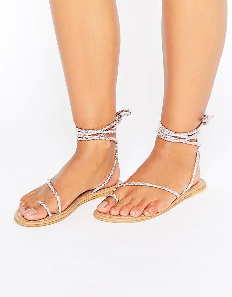 ASOS ASOS FIRE FLY Leather Lace Up Flat Sandals in palepink - Sandals by ASOS Collection, Plaited leather upper,...