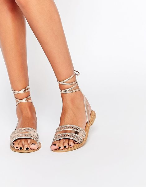 Asos FLABOGAST Suede Tie Leg Sandals in gold