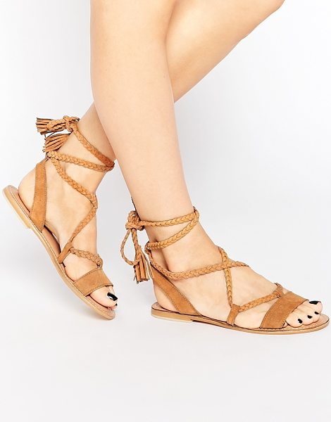 Asos FLEUR Suede Tie Leg Sandals in beige - Sandals by ASOS Collection, Suede upper, Lace-up...