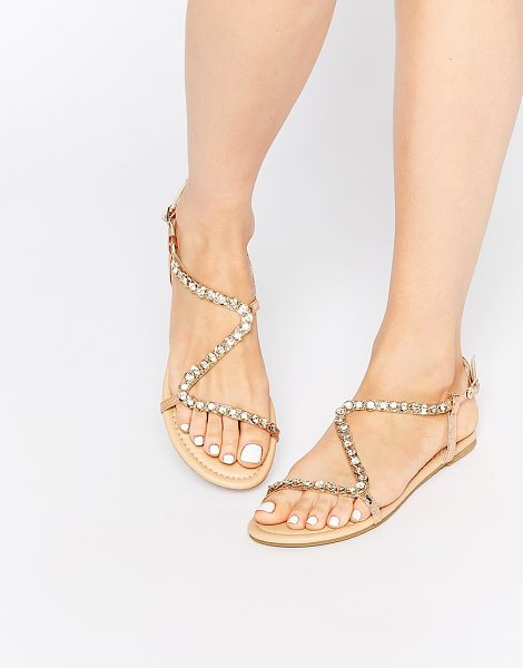 Asos FLIRTY Embellished Flat Sandals in gold - Sandals by ASOS Collection, Leather look upper,...