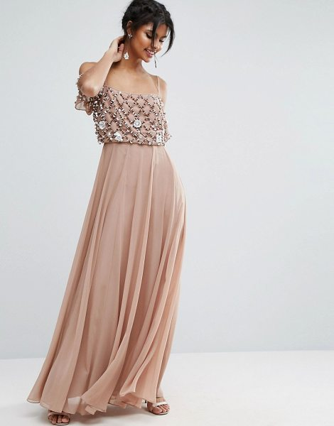 "Asos Floral Embellished Cold Shoulder Maxi Dress in pink - """"Maxi dress by ASOS Collection, Lined chiffon, Square..."