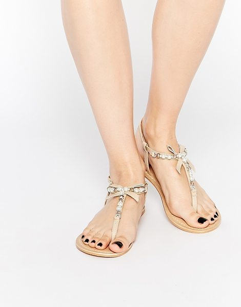 ASOS FLORENCE Embellished Leather Sandals in beige - Sandals by ASOS Collection, Matte leather upper, Pin...