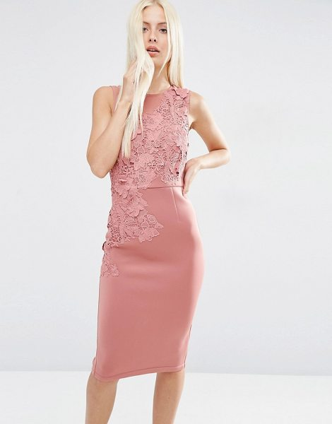 Asos Flower Scuba Midi Pencil Dress in pink - Pencil dress by ASOS Collection, Scuba-style fabric,...