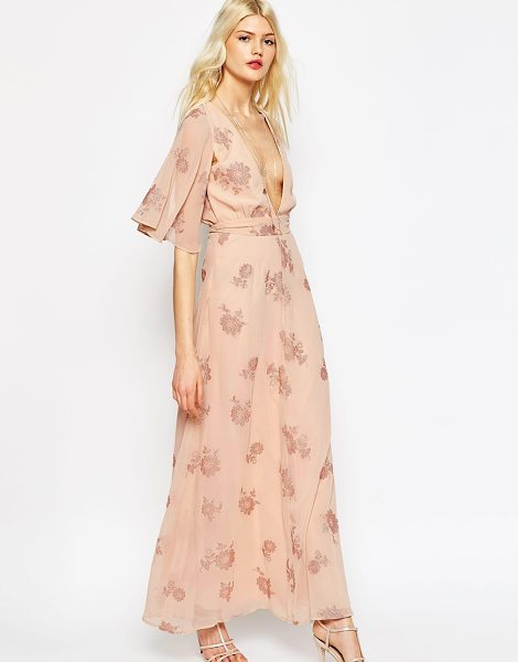 Asos Flutter Sleeve Maxi Dress With Pretty Florals in pink - Maxi dress by ASOS Collection, Lightweight chiffon...
