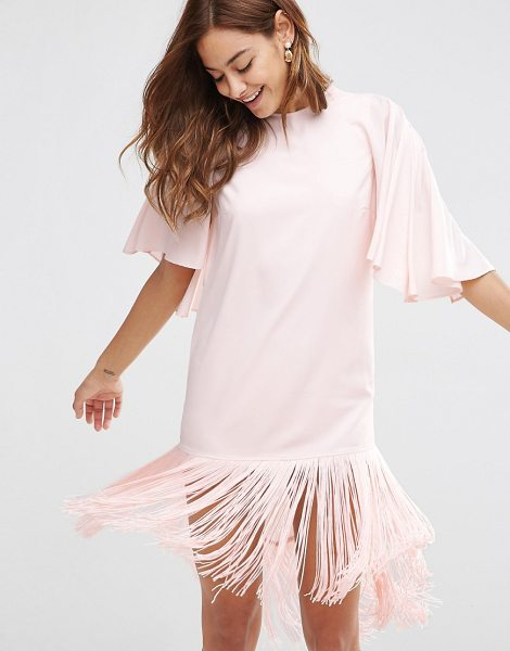Asos Flutter Sleeve Mini T Shirt Dress With Fringe Hem in pink - Dress by ASOS Collection, Woven fabric, Crew neck,...