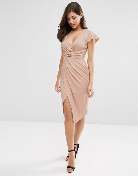 Asos Flutter Sleeve Wrap Front Midi Dress in pink - Midi dress by ASOS Collection, Smooth stretch fabric,...