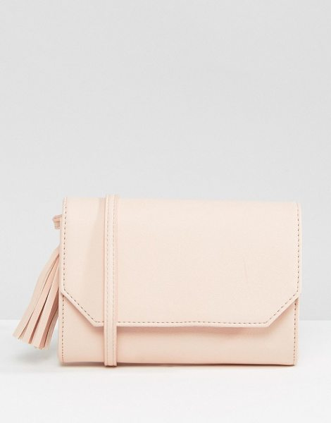 "Asos Foldover Tassel Cross Body Bag in pink - """"Bag by ASOS Collection, Faux leather outer, Single..."