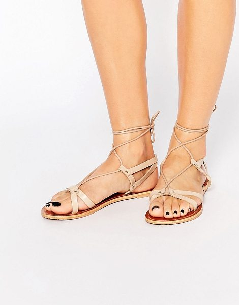 Asos FONDA Leather Lace Up Flat Sandals in beige - Sandals by ASOS Collection, Real leather upper, Lace-up...