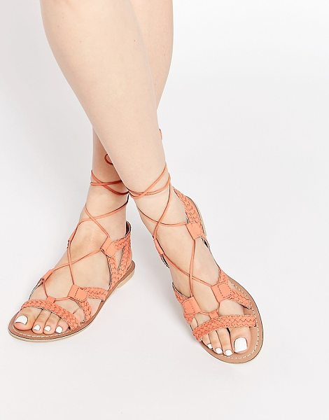 Asos For love tie up leather sandals in apricot - Sandals by ASOS Collection Woven leather upper Lace-up...