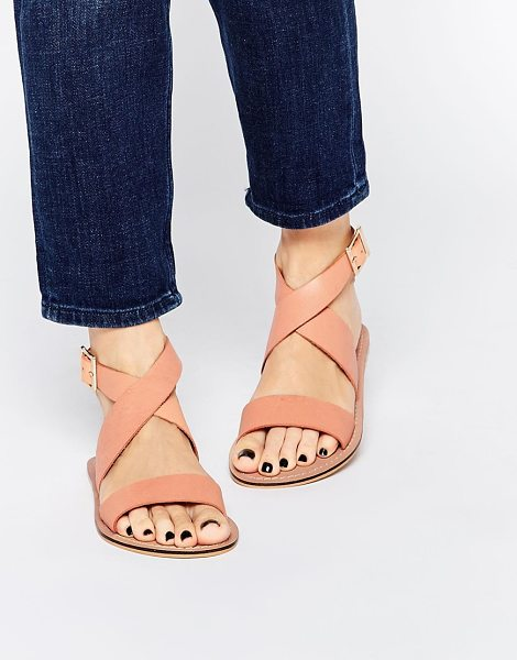 Asos Frame leather sandals in apricot - Sandals by ASOS Collection Matte leather upper Pin...
