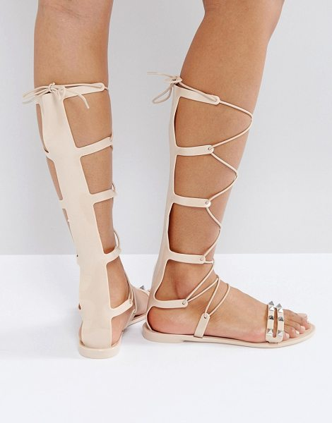 Asos FREEMAN Jelly Gladiator Flat Sandals in beige