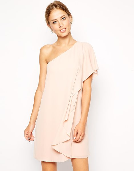 Asos Frill one shoulder shift dress in nude - Dress by ASOS Collection Lightweight chiffon fabric...
