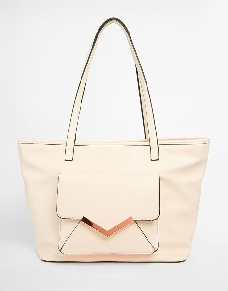 ASOS Front pocket with v bar shoulder bag - Cart by ASOS Collection Smooth leather-look fabric Twin...