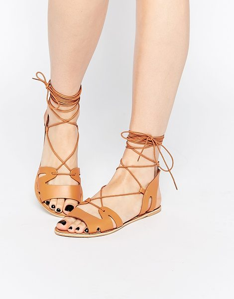 Asos Fuerta lace up leather sandals in tan - Sandals by ASOS Collection, Smooth leather upper,...