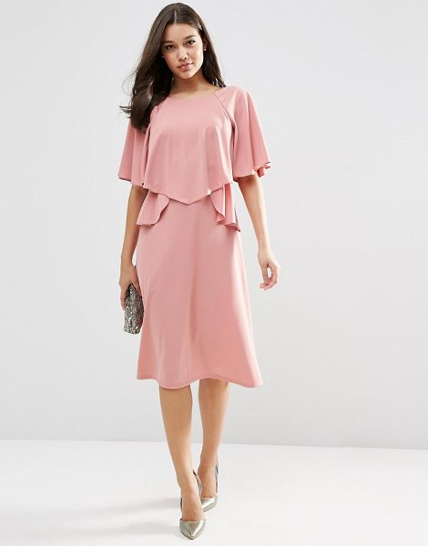 Asos Full soft ruffle midi dress in mauve - Midi dress by ASOS Collection Unlined fabric Soft-touch...