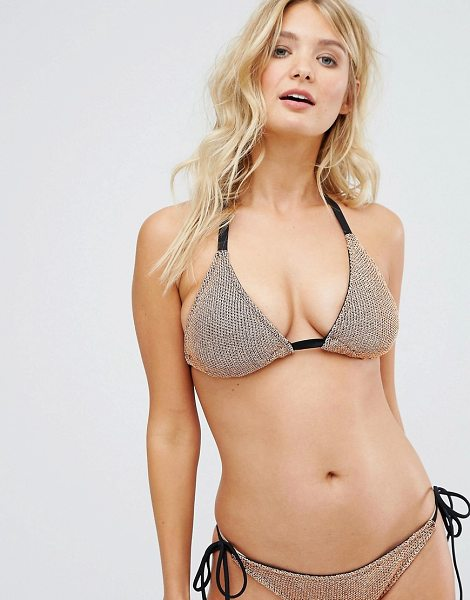 "ASOS FULLER BUST Chain Mail Effect Triangle Bikini Top in rosegold - """"Bikini top by ASOS Collection, Stretch swim fabric,..."