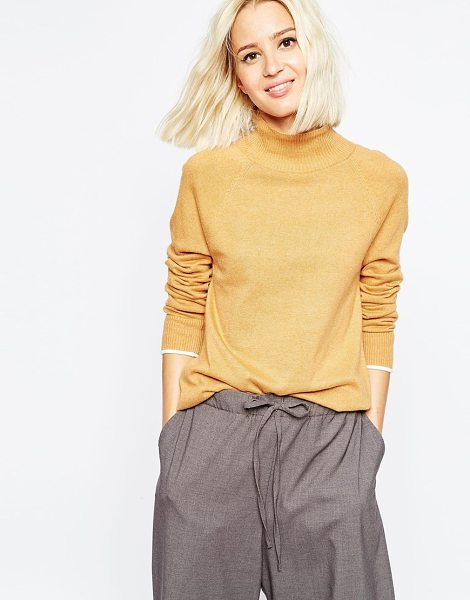 ASOS Funnel neck sweater with tipping in camelwhite - Sweater by ASOS Collection Soft-touch fine knit...
