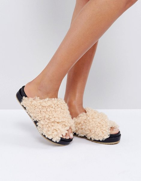 Asos FURRY Sliders in beige - Sandals by ASOS Collection, Boucle faux-fur upper,...