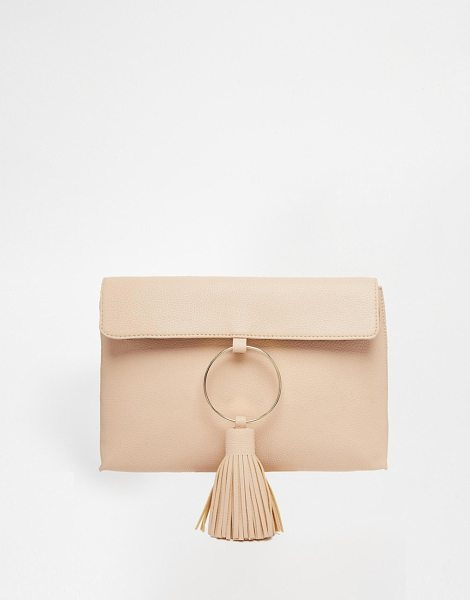 Asos Giant tassel clutch bag in pink - Cart by ASOS Collection Leather-look outer Lining Front...