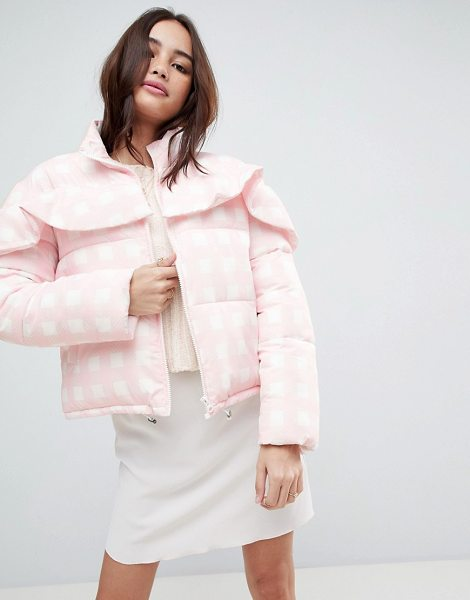 ASOS DESIGN gingham padded jacket in pink - Jacket by ASOS Collection, Everything looks better with...