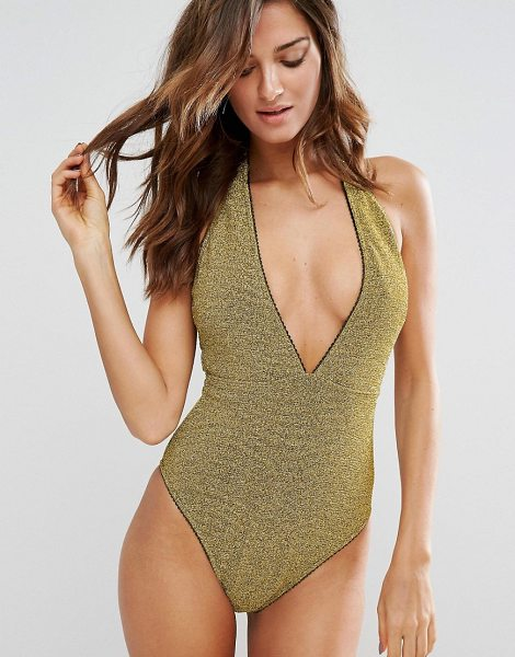 Asos Gold Metallic Picot Trim Plunge Swimsuit in gold - Swimsuit by ASOS Collection, Stretch swim fabric,...