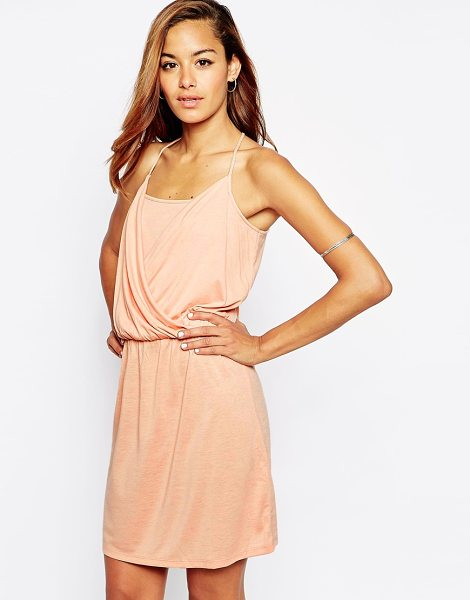 Asos Grecian wrap front mini dress in pink - Dress by ASOS Collection, Lightweight jersey, Draped...