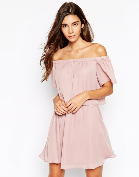 Asos Gypsy off shoulder dress with short sleeves in mink - Dress by ASOS Collection Lightweight woven fabric Off...